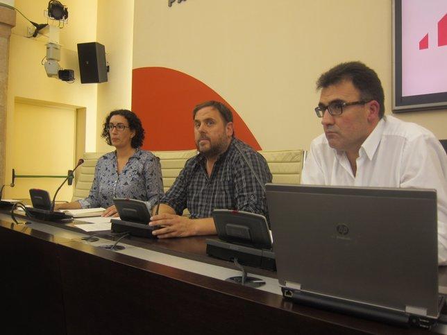 Marta Rovira, Oriol Junqueras, Lluís Salvadó (ERC)
