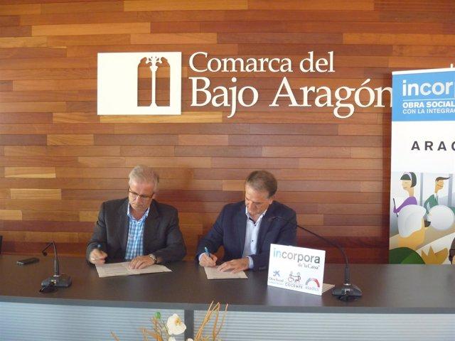 Renovación convenio de la Caixa con la comarca del Bajo Aragón