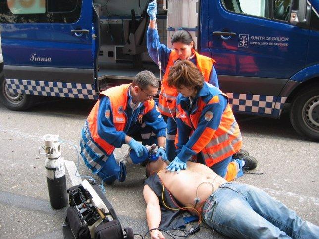 Maniobra de reanimación de personal del 061-Galicia