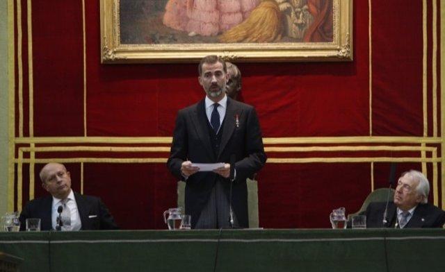 El Rey durante su intervención en la Apertura del Curso de las Reales Academias