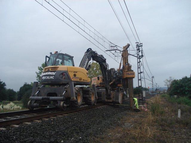 Obras catenaria Bárcena y Torrelavega