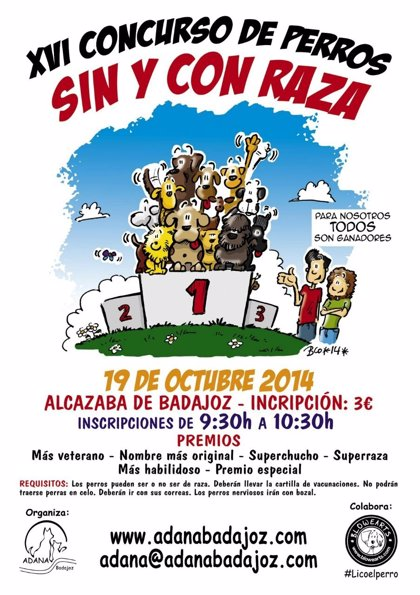 Adana celebra este domingo en Badajoz su XVI Concurso de Perros sin y con raza