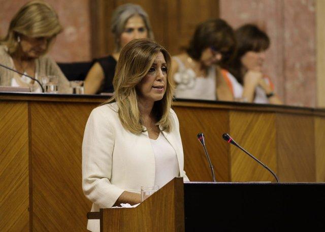 Susana Díaz en su intervención inicial en el Debate de la Comunidad