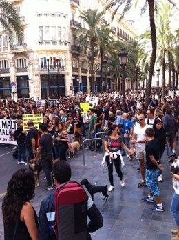 Manifestación en defensa de los animales en Valencia