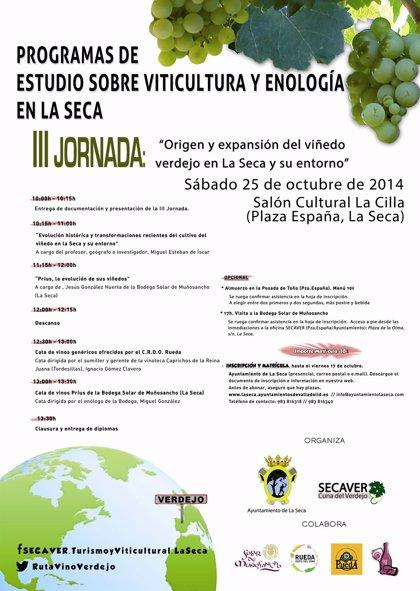 La Seca (Valladolid) celebra el sábado sus terceras jornadas sobre origen y expansión del viñedo verdejo en la villa