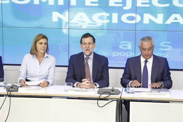 Cospedal, Arenas y Rajoy en el Comité Ejecutivo Nacional del PP