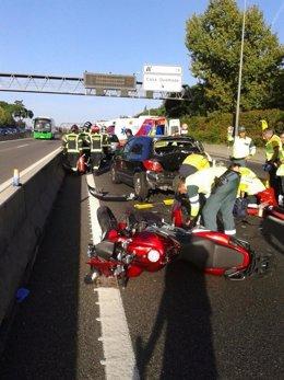 Accidente de moto en la A6