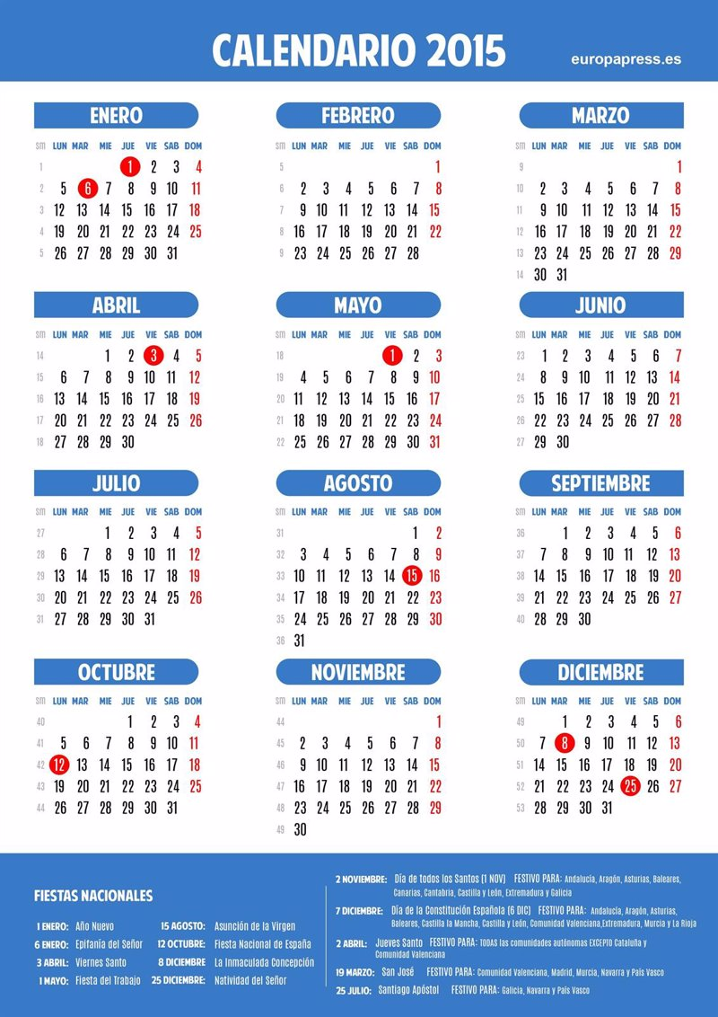 Calendario laboral 2015 for Calendario eventos madrid