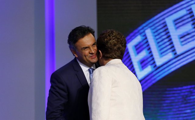 Candidatos presidencial Neves y Rousseff