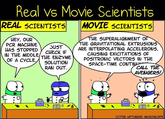 Científicos reales y del cine
