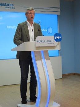 Alfonso Rueda, tras el comité de dirección del PPdeG