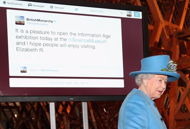 LONDON, ENGLAND - OCTOBER 24:  Queen Elizabeth II sends her first Tweet during a