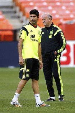 Diego Costa Vicente del Bosque selección española entrenamiento