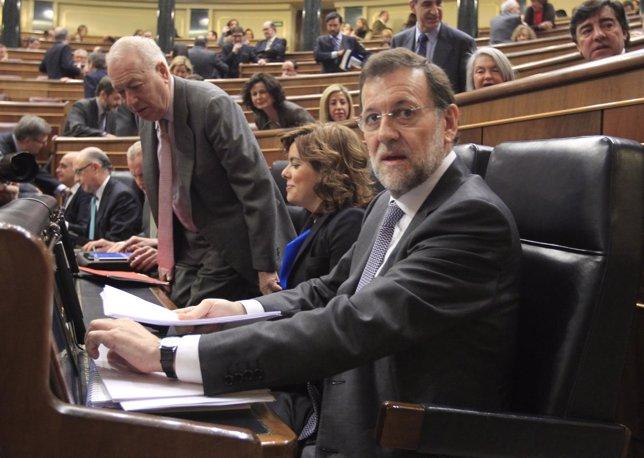 Mariano Rajoy, En Su Escaño Del Banco Azul Del Hemiciclo
