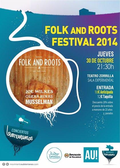 El Teatro Zorrilla, escenario el jueves del Festival 'Folk and Roots', con Joe Wilkes, Oscar Benas y Musselman