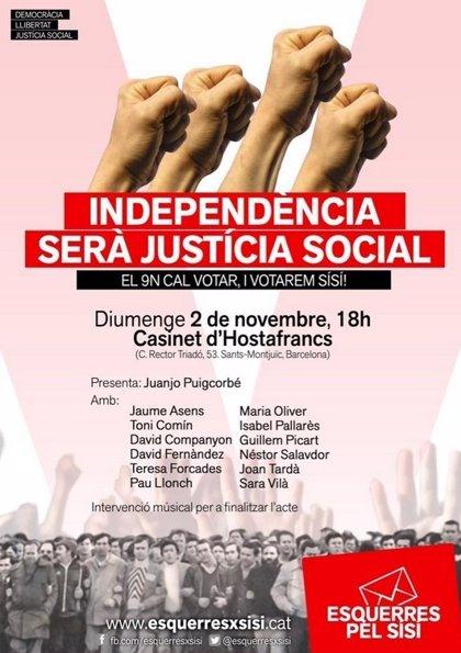 ERC, ICV, EUiA y CUP coincidirán este domingo en un acto a favor del doble 'sí'