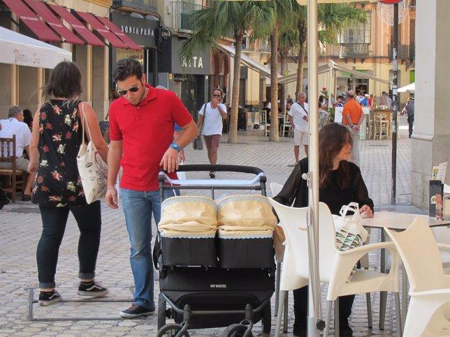 Familia, Bebé, Carro, Terraza, Turismo, Turistas