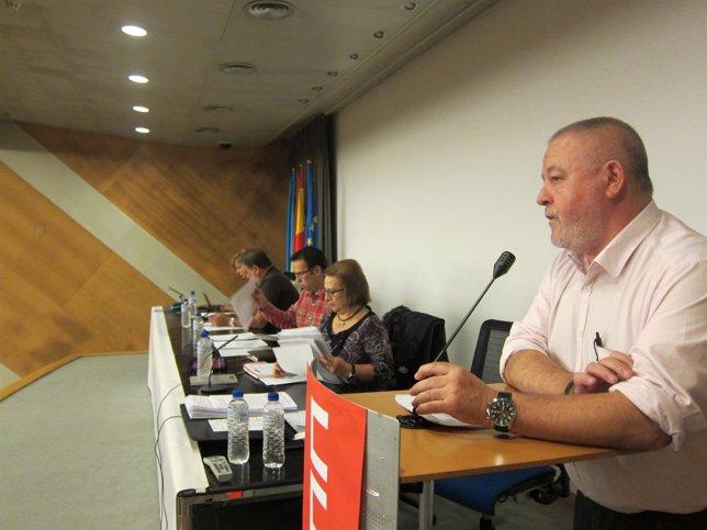 Antonio Pino, durante su intervención en el acto de CCOO.