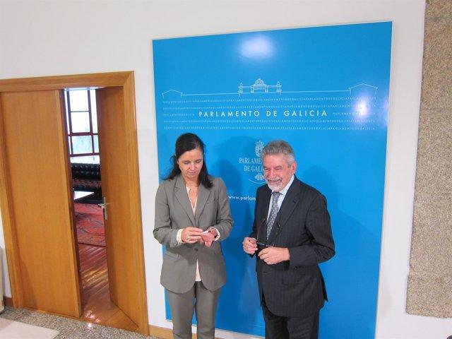 Xesús Palmou y Pilar Rojo, entrega de los informes del Consello de Contas