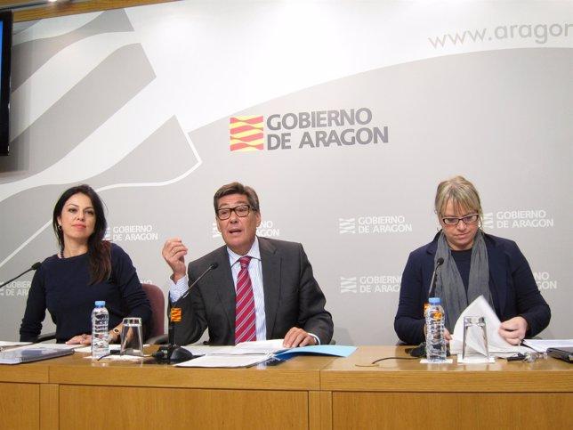 Aliaga, Sevilla y Scarpellini han presentado este miércoles el estudio en la DGA