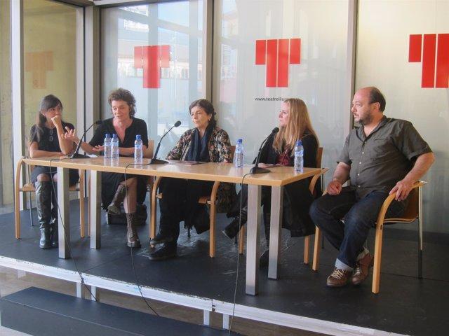 El elenco de 'Sonata de otoño' en la presentación en el Teatre Lliure
