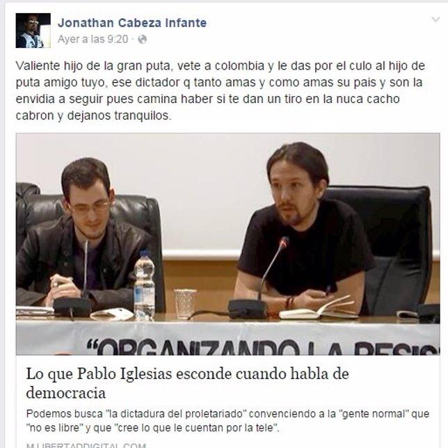 Facebook de Jonathan Cabeza Infante