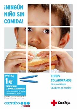 Cartel ¡Ningún niño sin comida!, de Caprabo y Cruz Roja