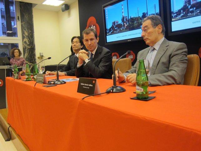 Hasegawa, Stilwell y García, durante la presentación del proyecto.