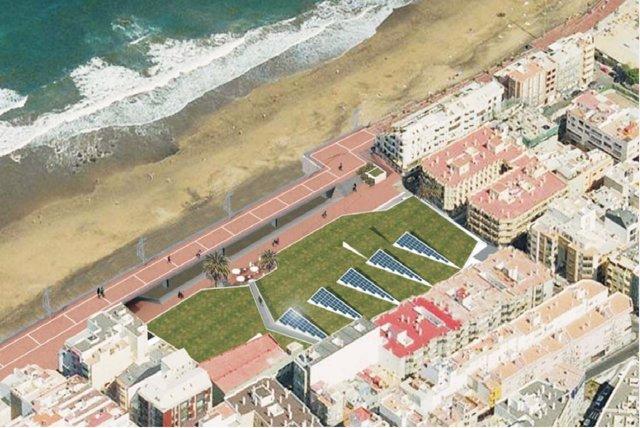 Zona de la Cícer, en la playa de Las Canteras