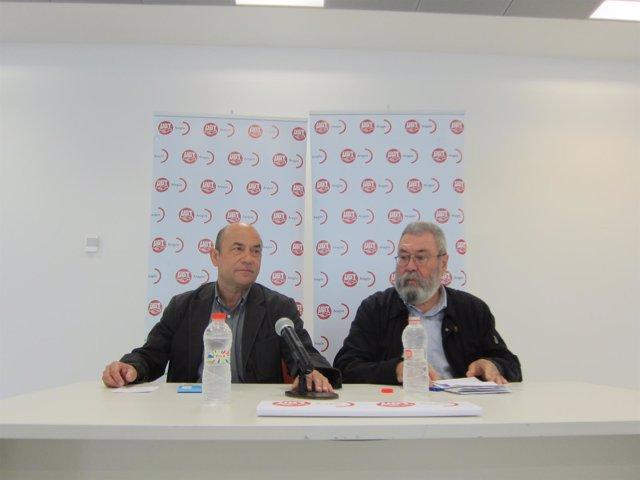 Daniel Alastuey (UGT-Aragón) y Cándido Méndez.