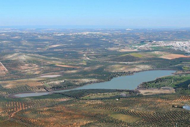 Vista aérea de la laguna de Zoñar, en Aguilar de la Frontera