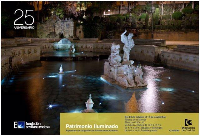 Cartel de 'Patrimonio iluminado' en Córdoba