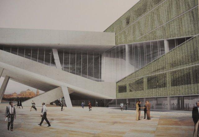Recreación del Centro de Congresos proyectado para Miraflores
