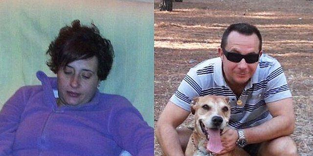 Javier Limón y Teresa Romero junto a su perro excalibur