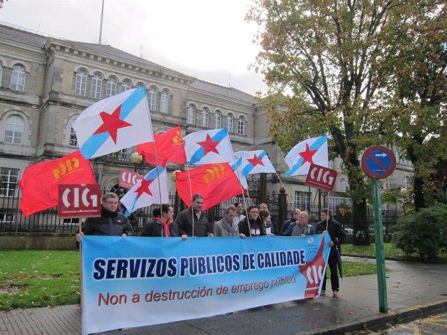 Concentración de la CIG ante la Xunta en Santiago
