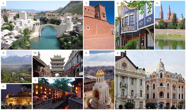 Collage de los 10 mejores destinos del mundo