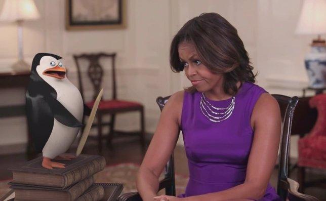 Michelle Obama y Los pingüinos de Madagascar