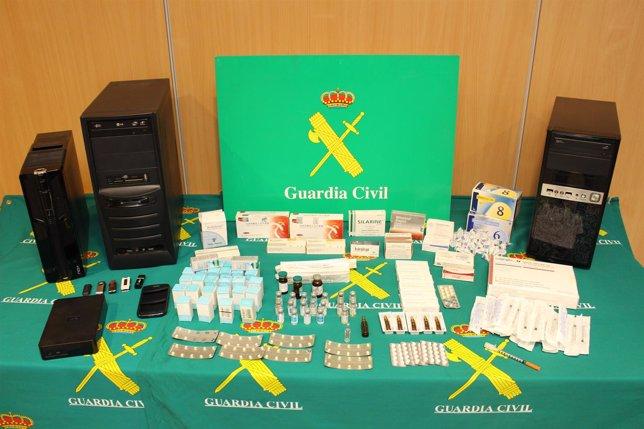 Material intervenido en la Operación Fitness en Pontevedra.