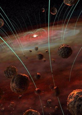 Granos magnetizados que forman meteoritos