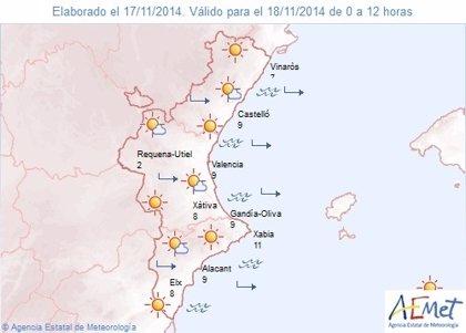 Las temperaturas nocturnas bajarán esta noche en la Comunitat y las diurnas se mantendrán sin cambios