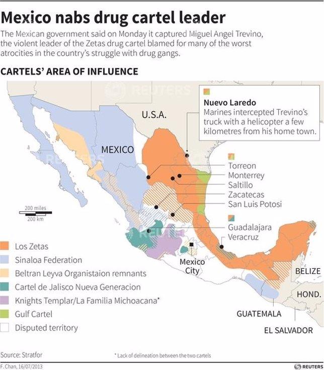 Mapa del narcotráfico en México