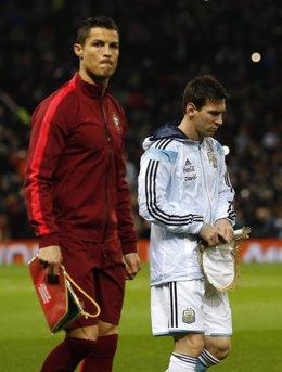 Cristiano y Messi en el amistosos entre Argentina y Portugal