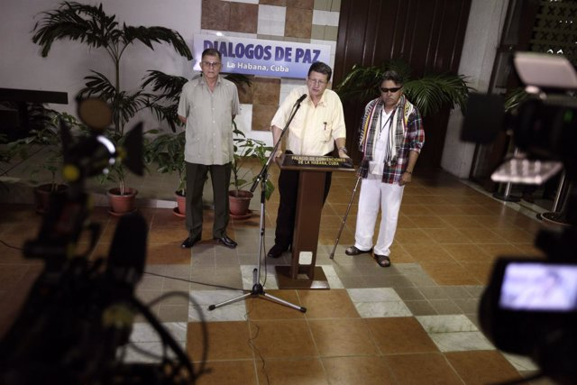 Portavoces de las FARC en los diálogos de paz con el Gobierno en La Habana.
