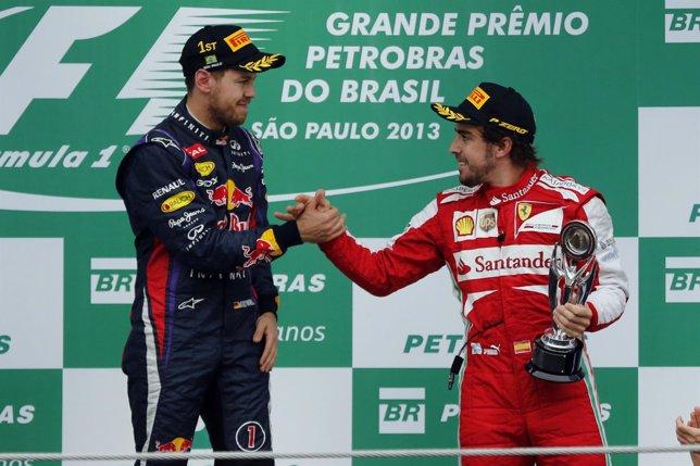 Fernando Alonso y Sebastian Vettel en Brasil