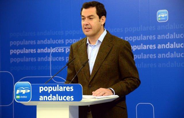 Juanma Moreno, presidente del PP-A, en rueda de prensa en el PP-A  en Sevilla