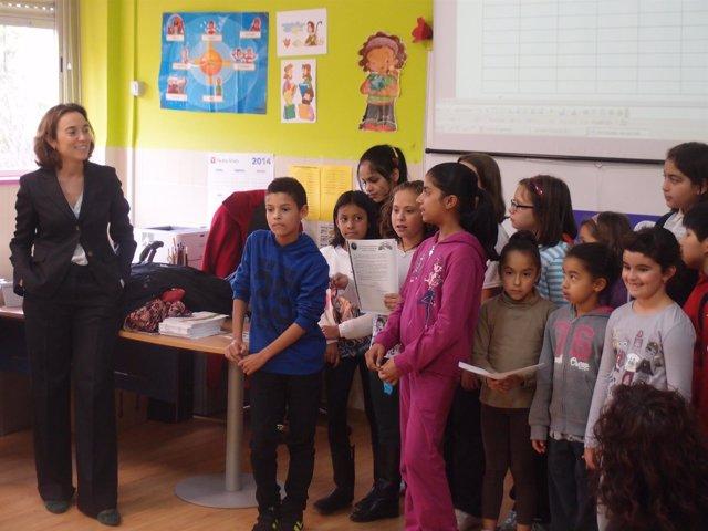 Gamarra, durante su visita al colegio