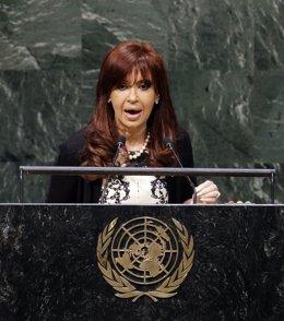 La presidenta de Argentina, Cristina Fernández de Kirchner, en la ONU