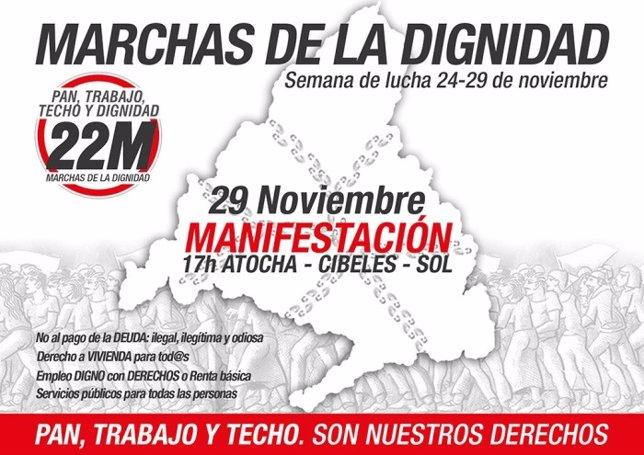 Cartel de la convocatoria de las Marchas de la Dignidad del 29 de noviembre