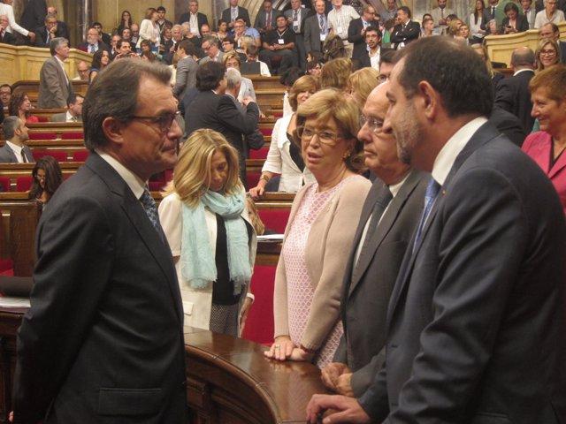 Artur Mas, I.Rigau, B.Ruiz y R.Espadaler, en el pleno de la ley de consultas