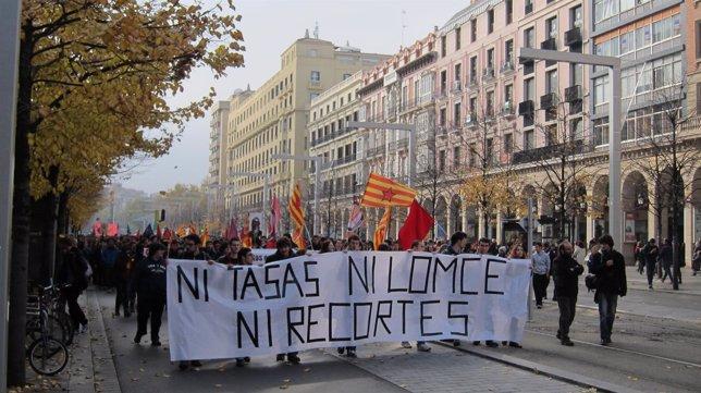 Manifestación de estudiantes en Zaragoza